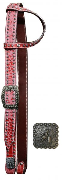 Belt Style One Ear Headstall with Alligator print and Barrel Racer Concho