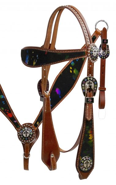 Double Stitched Leather Headstall and Breast Collar Set with Metallic Splash Hair on Cowhide- Doub1e Stitched Leather Headstall and Breast Collar Set with Metallic Splash Hair on Cowhide