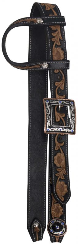 Black Leather Belt Headstall Floral Tooling-Black Leather Belt Headstall Floral Tooling