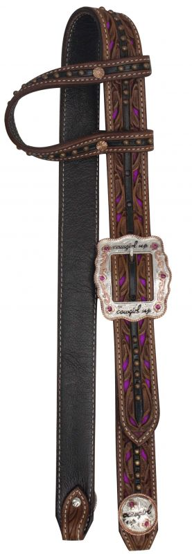 "One Ear Belt Style Leather Headstall with "" Cowgirl Up"" Buckle and Conchos"