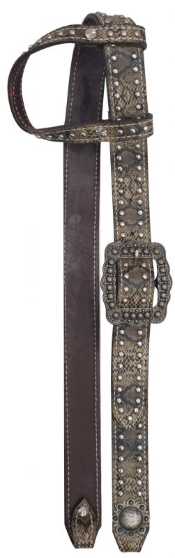 One Ear Belt Style Leather Headstall with snake print.