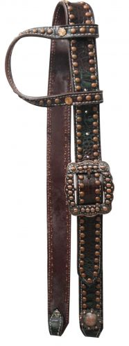 One Ear Belt Style Leather Dark Muliti Colored Alligator Print Bridle.