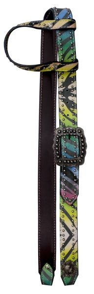 Rainbow Zebra print belt headstall.-Rainbow Zebra print belt headstall.