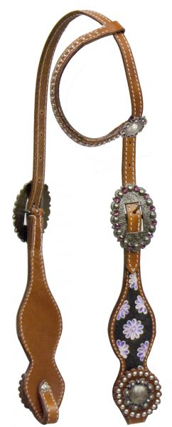 One ear headstall with purple daisy inlay on cheeks.