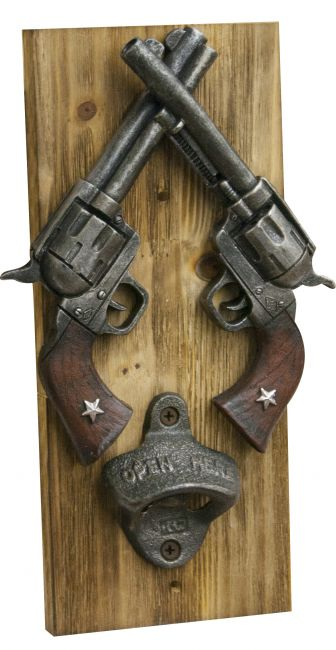 Crossed guns bottle opener wall plank