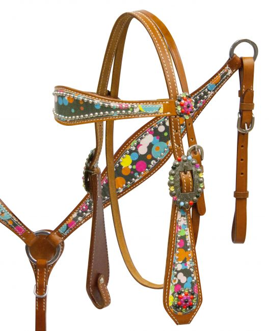 Headstall and breast collar set with polka dot overlay-Headstall and breast collar set with polka dot overlay