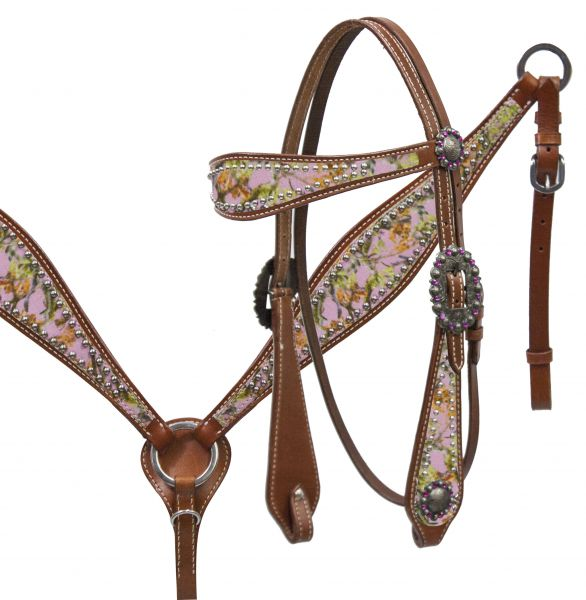 Camo overlay headstall and breast collar set.- Camo overlay headstall and breast collar set.