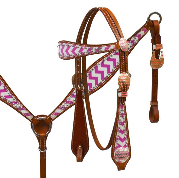 Chevron overlay headstall and breast collar set.-Chevron overlay headstall and breast collar set.