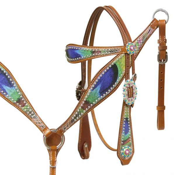 Peacock feather headstall and breast collar set.- Peacock feather headstall and breast collar set.