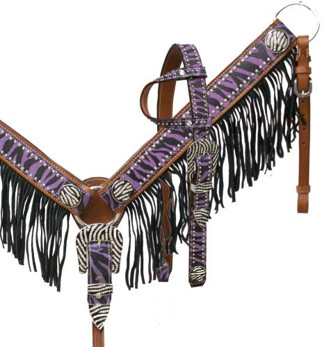 Purple zebra fringe headstall and breast collar set with crystal rhinestone zebra print hardware- Purple zebra fringe headstall and breast collar set with crystal rhinestone zebra print hardware