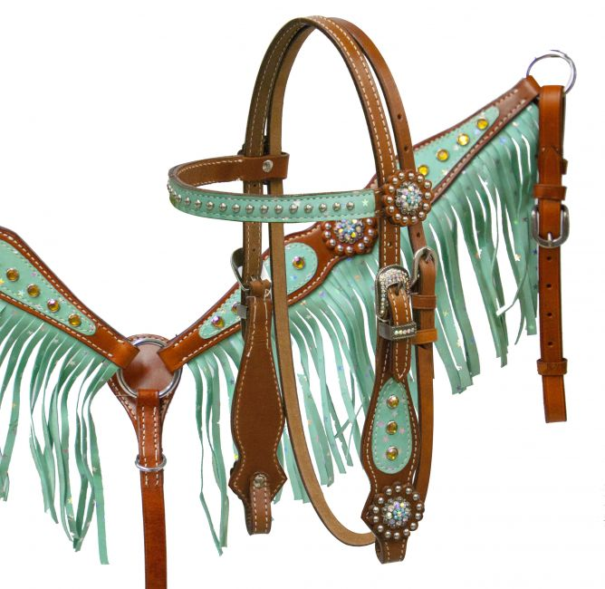 Pony size glitter star fringe headstall and breast collar set- Pony size glitter star fringe headstall and breast collar set