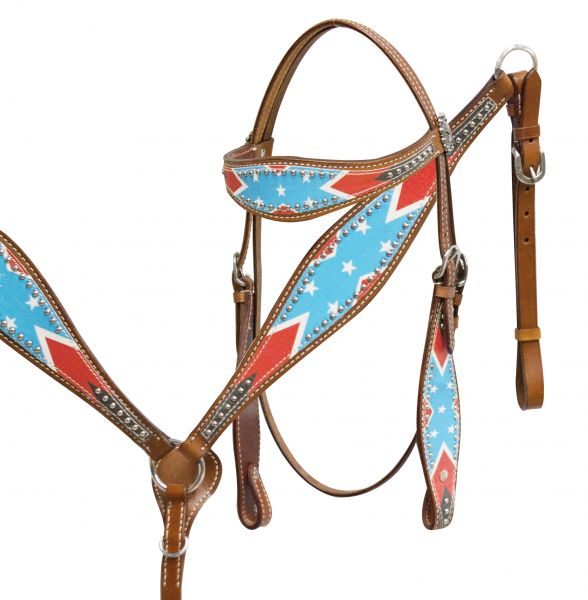 Rebel flag headstall and breast collar set-Rebel flag headstall and breast collar set