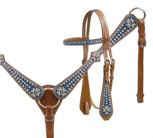 headstall and breast collar set with turquoise stone cross conchos and textured suede overlay.- headstall and breast collar set with turquoise stone cross conchos and textured suede overlay.