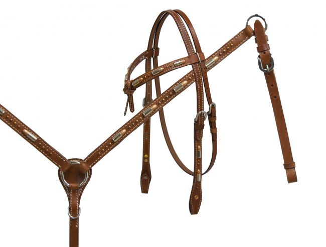 Futurity knot headstall and breast collar set with bullet accents-Futurity knot headstall and breast collar set with bullet accents