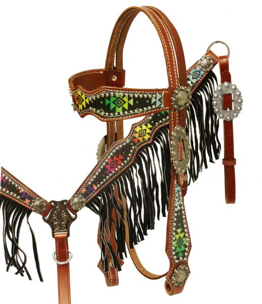 Navajo diamond design headstall and breast collar set with fringe