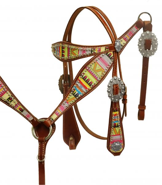 Aztec design headstall and breast collar-Aztec design headstall and breast collar