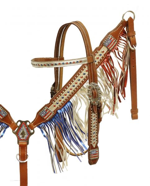 Patriotic metallic fringe headstall and breast collar set- Patriotic metallic fringe headstall and breast collar set