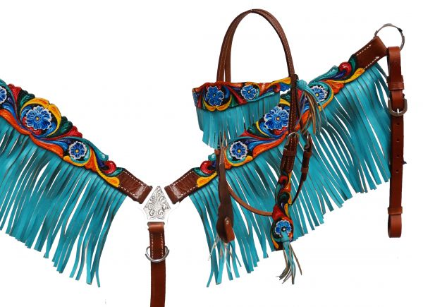 Headstall and breast collar set with teal fringe and hand painted floral tooling