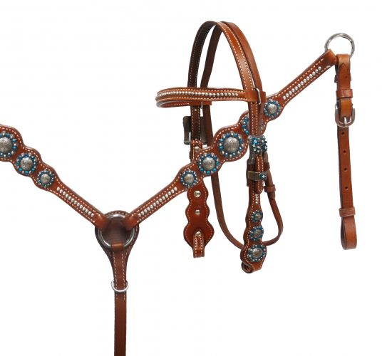 PONY Blue rhinestone headstall and breast collar set