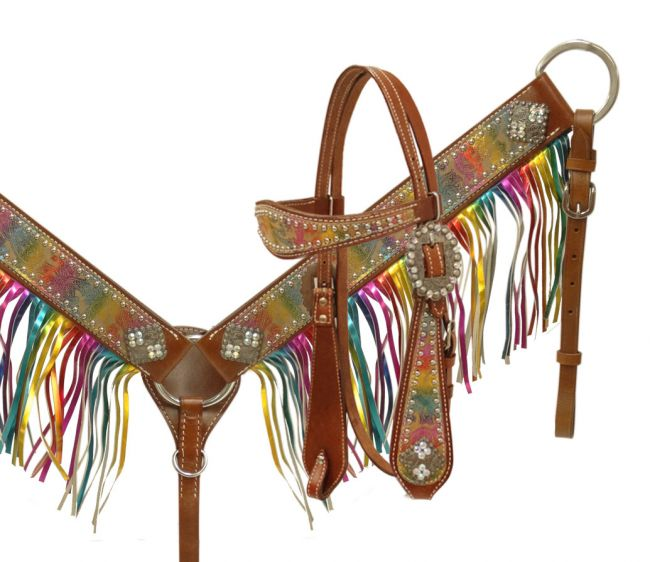 metallic rainbow paisley headstall and breast collar- metallic rainbow paisley headstall and breast collar