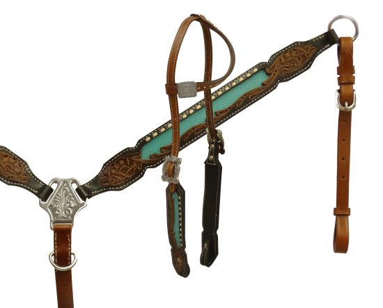 Single ear headstall with cross conchos-Single ear headstall with cross conchos