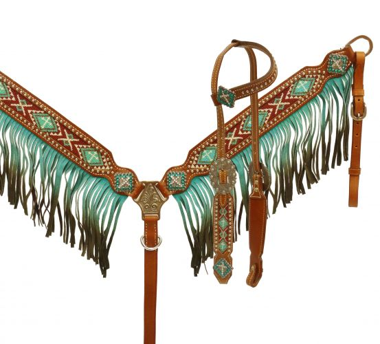 Ombre fringe headstall and breast collar set-Ombre fringe headstall and breast collar set