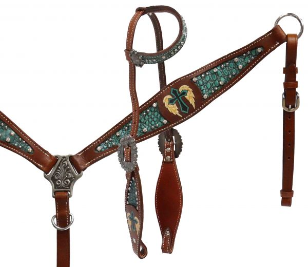 Single ear headstall and breast collar set with alligator print inlay and painted cross with wings