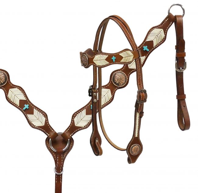 Native American Chief headstall and breast collar set with rawhide braiding-Native American Chief headstall and breast collar set with rawhide braiding