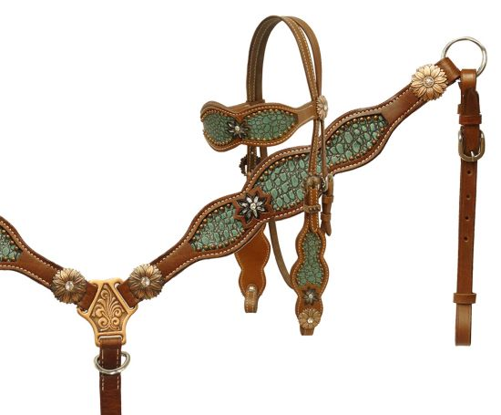 Alligator print inlay headstall and breast collar set- Alligator print inlay headstall and breast collar set