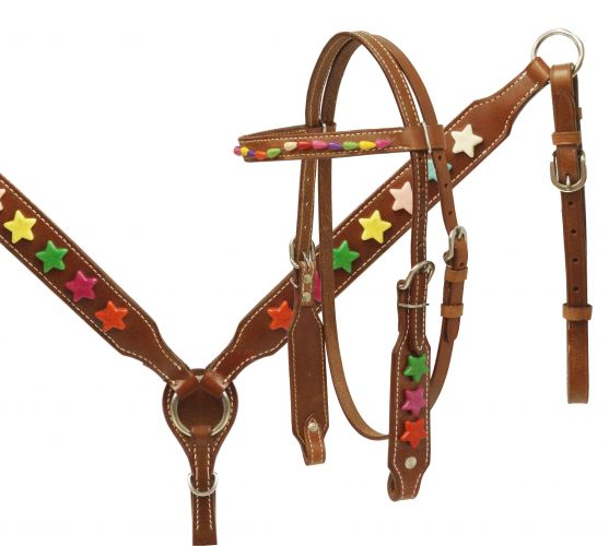 Pony size headstall and breast collar set with multi colored star beads