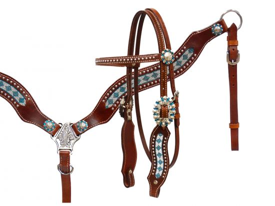 Crystal rhinstone headstall and breast collar set