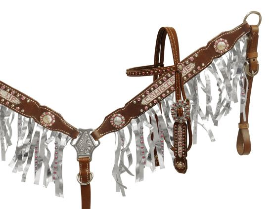 Crystal rhinestone Cowgirl Up fringe headstall and breast collar