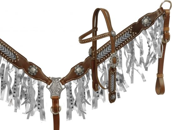 metallic fringe headstall and breast collar