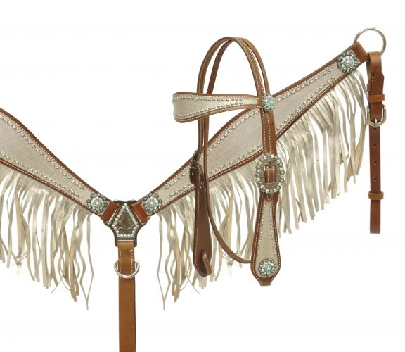 metallic silver fringe alligator print headstall and breast collar set