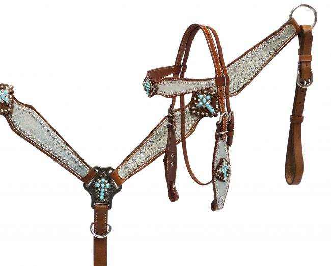 Metallic flower design headstall and breast collar set-Metallic flower design headstall and breast collar set