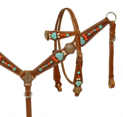Native American Chief headstall and breast collar set with turquoise stone hearts