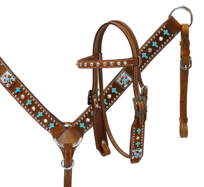 Turquoise Pony cross headstall and breast collar set