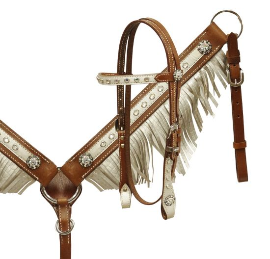 Pony size metallic alligator print fringe headstall and breast collar