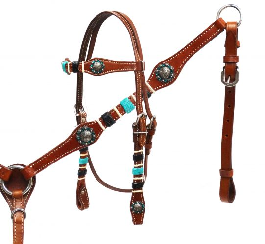 Braided rawhide headstall and breast collar set-Braided rawhide headstall and breast collar set