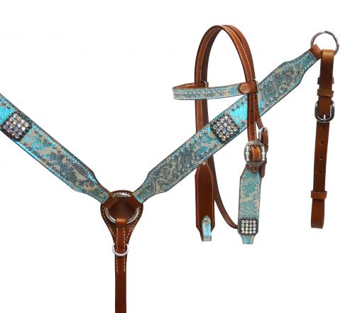 Pony size Metallic turquoise paisley headstall and breast collar set