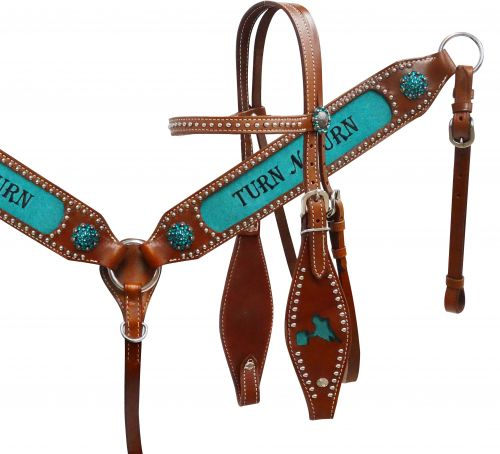 """ Turn N Burn"" headstall and breast collar set-  Turn N Burn headstall and breast collar set"