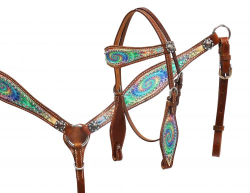 Pony size Psychedelic swirl headstall and breast collar set