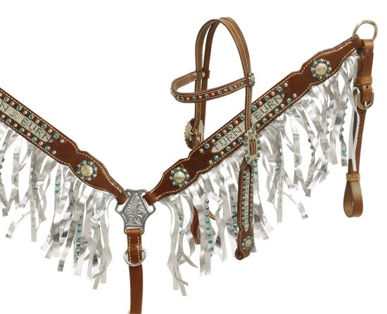 Crystal rhinestone fringe headstall and breast collar
