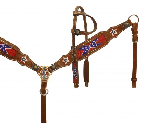 Single ear, beaded Rebel flag headstall and breast collar set