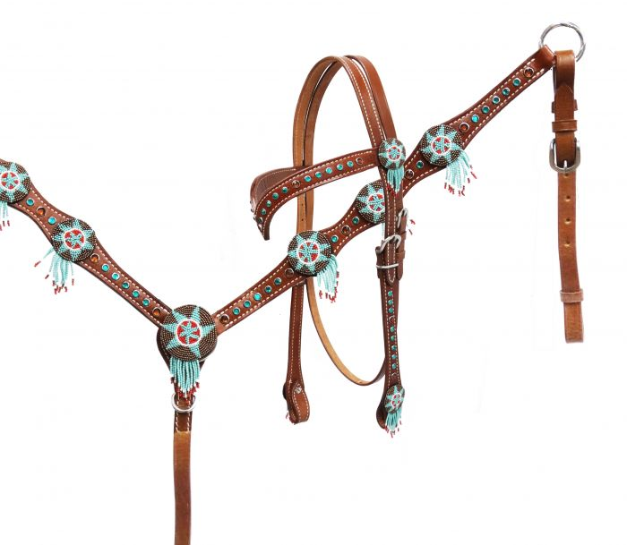 Headstall and breast collar set with beaded dream catchers