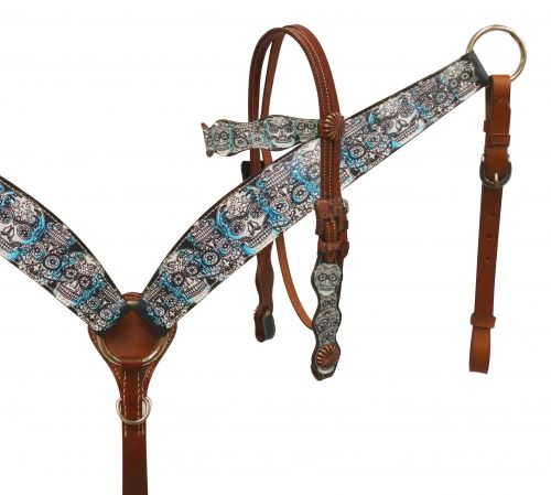 Sugar skull headstall and breast collar set