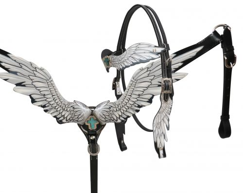 Angel wing headstall and breast collar set-Angel wing headstall and breast collar set