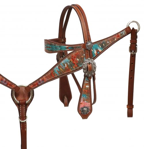 """ Copper Patina"" Headstall and breast collar set- Copper Patina Headstall and breast collar set"