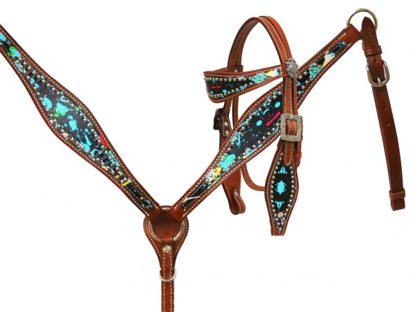 Paint splatter headstall and breast collar set