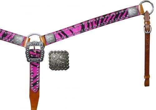Belt Style Hair On Zebra Print Breast Collar-Belt Style Hair On Zebra Print Breast Collar